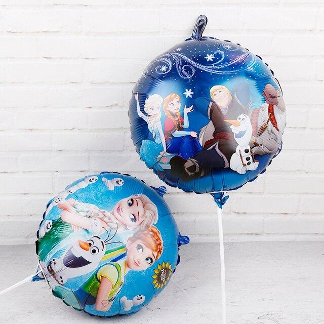 60Pcs 18นิ้วElsa Annaฟอยล์บอลลูนแช่แข็งQueen Princessบอลลูนวันเกิดตกแต่งเด็กทารกอุปกรณ์ของเล่นเด็ก