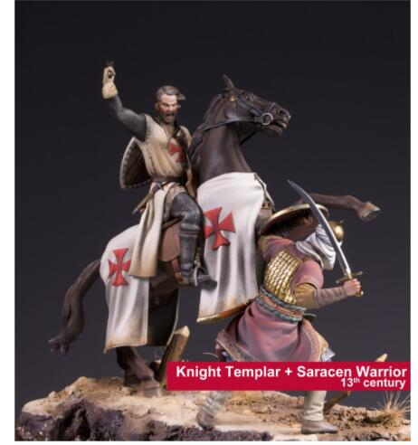 1 24 75mm KNIGHT TEMPLAR and SARACEN WARRIOR soldiers toy Resin Model Miniature Kit Unassembly Unpainted