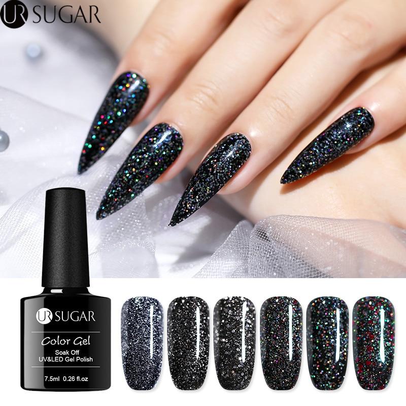 Black Holographic Glitter Nail Polish: UR SUGAR 7.5ml Holographic Glitter Gel Nail Polish Black