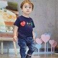 Ins * mais novo 2016 unisex bebê crianças cotton T camisas de verão da família pano moda infantil T - camisa 1-6a frete grátis