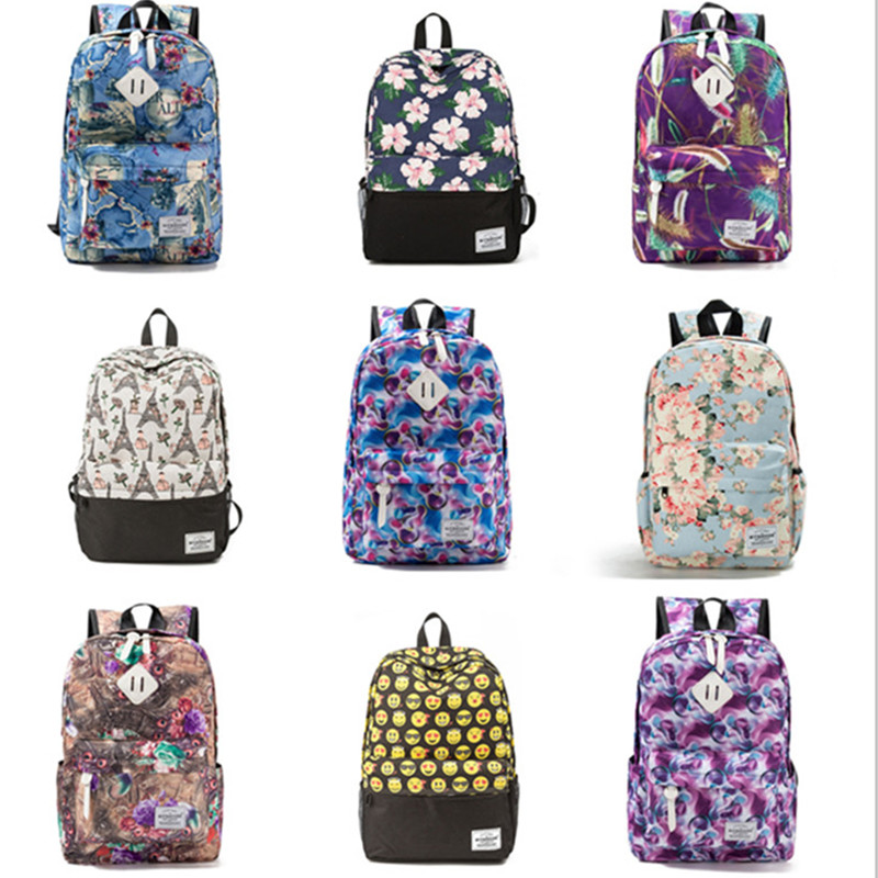 Image 5 - Miyahouse Fresh Style Women Backpacks Floral Print Bookbags Canvas Backpack School Bag For Girls Rucksack Female Travel Backpack-in Backpacks from Luggage & Bags