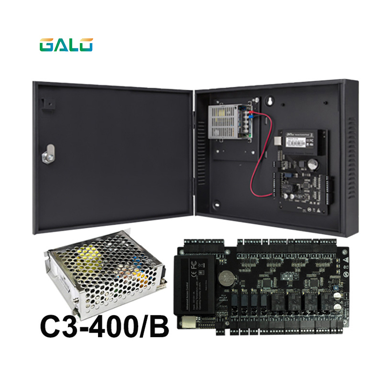 TCP/IP Access Control Panel Access Control Board ZK C3-400 4 Doors Access Control System With Power Supply Box Battery Function