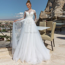 A Line Wedding Dresses Vestido De Novias Lace Appliques Flowers Long Sleeves Backless Bridal Wedding Gown Marriage Longo