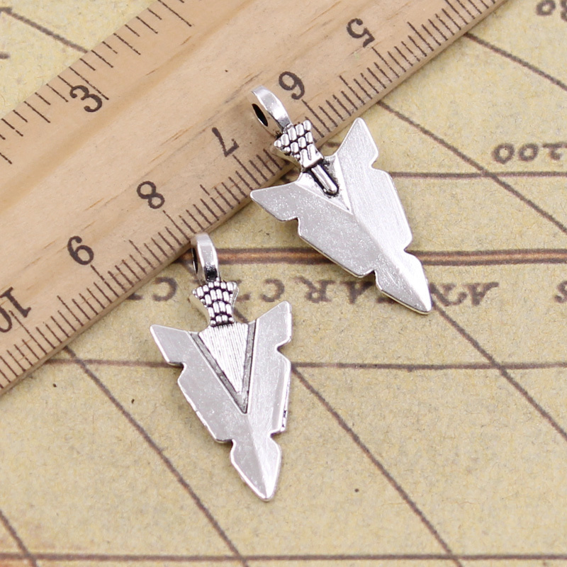 10pcs/lot Charms Indian Arrowhead Dagger 28x15mm Tibetan Pendants Antique Jewelry Making DIY Handmade Craft For Necklace