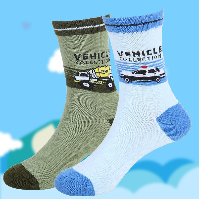 Children socks spring & autumn new Cotton cartoon car socks for boys 1-12 year kids socks (5 pairs / pack) Children Wit 9