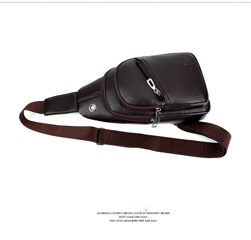 Hengsheng Newly Design Jeep Chest Bag With Fashion Usb Men Chest Bag By Quality Pu Leather Men Shoulder Bag Men Crossbody Bags