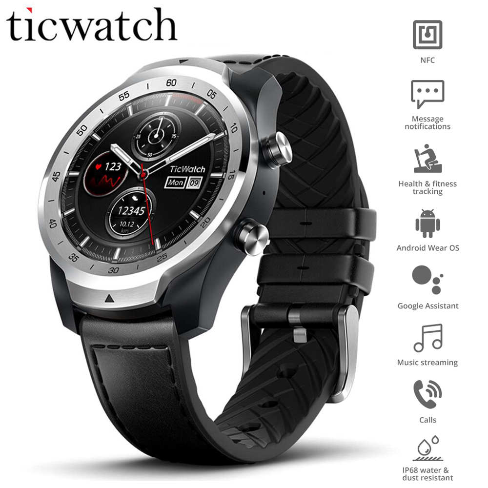 Global Ticwatch Pro Smart Watch Wear OS NFC Google Pay Google Assistant IP68 Waterproof Layer Display Long Standby GPS Watch