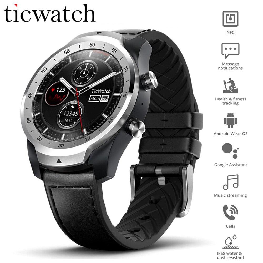 Original Global Ticwatch Pro Desgaste OS Relógio Inteligente NFC Google Pay Assistente Google IP68 Exibição Em Camadas Longa Espera GPS Relógio