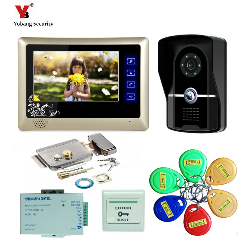 Yobang Security 7 Video Intercom Door Phone 1 Monitors Doorbell Camera for 1 Family Apartment+5pcs RFID door bell Access System 1v3 doorbell camera 2 4ghz video wireless videocitofono video door phone with 3 indoor monitors for door access security