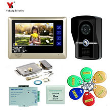 Yobang Security 7″ Video Intercom Door Phone 1 Monitors Doorbell Camera for 1 Family Apartment+5pcs RFID door bell Access System