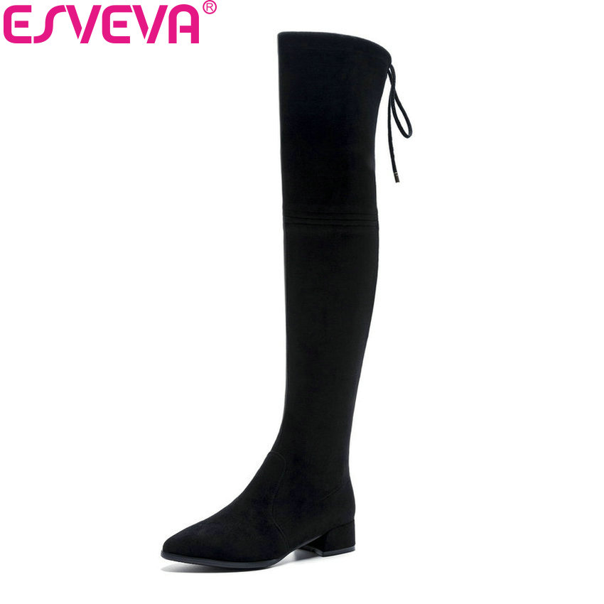 ESVEVA 2019 Women Boots Square Heels Stretch Fabric Spring Autumn Shoes Over The Knee Boots Pointed Toe Boots Woman Size 34-42 esveva 2019 women boots square heels stretch fabric over the knee boots spring autumn shoes round toe woman boots size 34 42