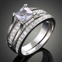 Sz 5-10 Top Princess Cut 10KT White Gold Filled 3A Cubic Zirconia CZ Wedding Ring Engagement Ring Free Shipping