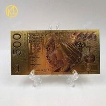 1 шт. unised 1994 Edition Poland Currency designed цветной 24 K позолоченный банкнот 500 PLN для банка подарочные сувениры