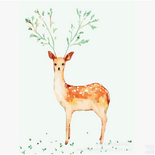 Diy Minyak Lukisan Mewarnai By Nomor Pada Kanvas Diy Singa Rusa Dan