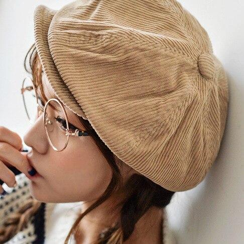 Fashion Autumn Winter Artist Cap Newsboy Cap Women Men Painter Cap Solid Corduroy Beanie Unisex Octagonal Cap