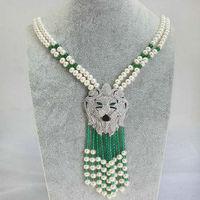 2 wiersze słodkowodne perły i zielony kamień naszyjnik natura koraliki hurtownie 20 inch leopard FPPJ zapięcie