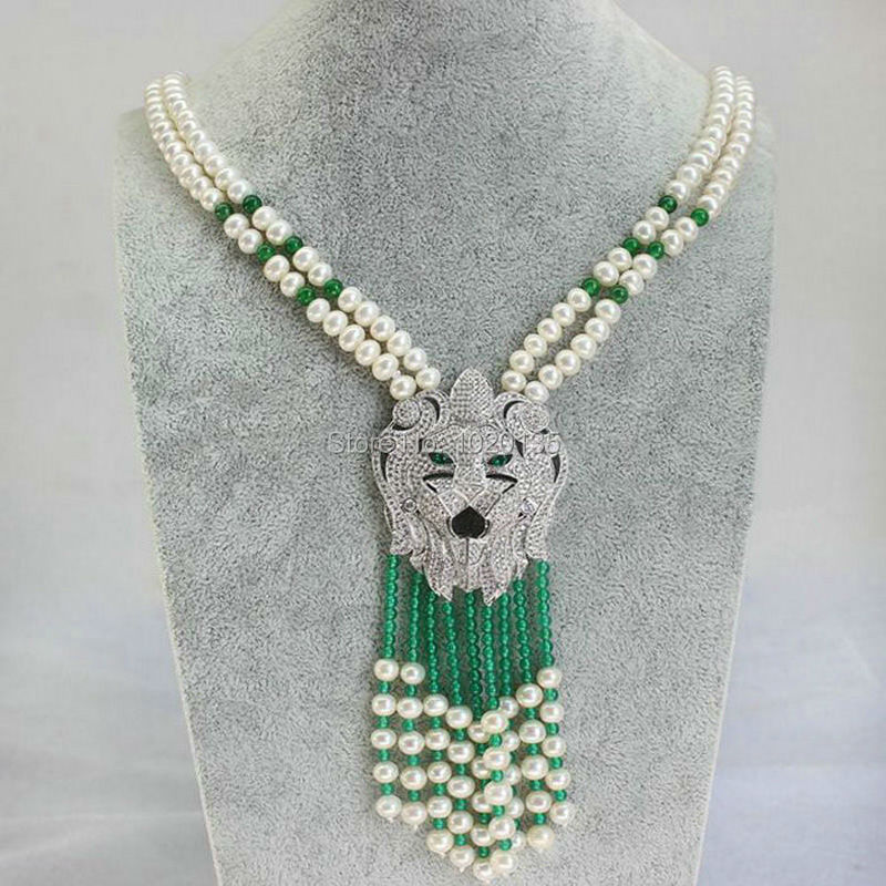 2rows freshwater pearl and green stone necklace nature beads wholesale 20inch leopard clasp FPPJ цена и фото