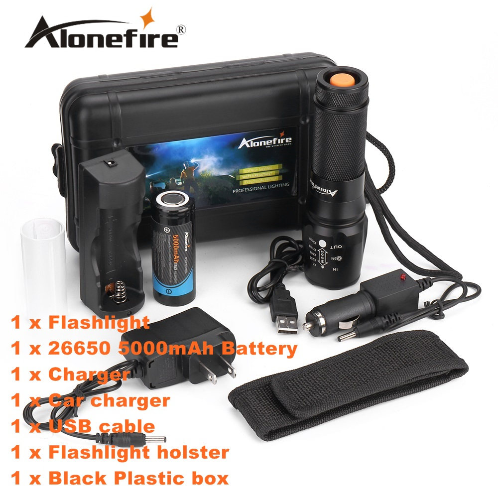 ALONEFIRE X800 CREE XML-T6 LED 4000LM Outdoor High power Zoomable tactical Flashlight torch+26650 Rechargeable batteries charger alonefire x160 cree xm l2 led flashlight high power lighting flashlight torch with 26650 battery charger