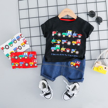 цена на 2019 Summer Baby Girls Boys Clothing Sets Toddler Infant Clothes Suits Cartoon Car Shirt Shorts Kids Children Short Casual Set