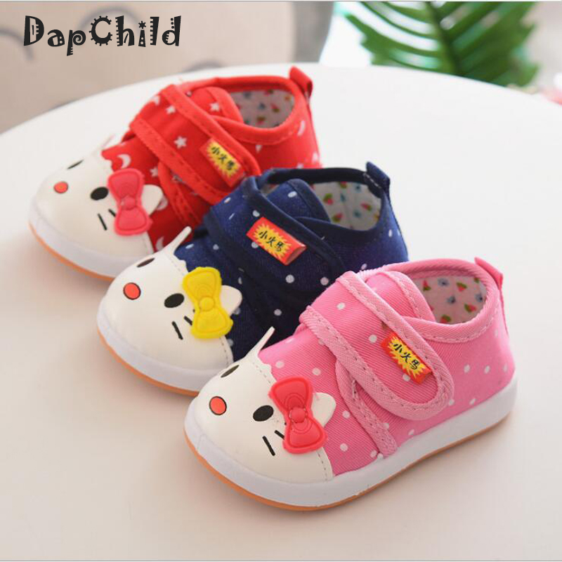Baby Toddler Shoes Canvas Fashion Children Footwear Animal Cat Hello Kitty Cute Kids Shoes Girls Sneakers Orthopedic Footwear