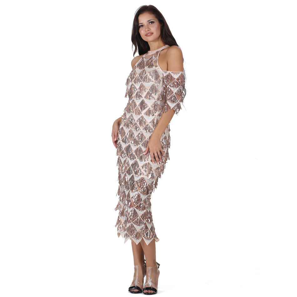 9a6f6008a5 S Curve Off Shoulder Cut Out Sequin Tassel Embellished Flapper Mid Sleeve  Bodycon Dress Back Split