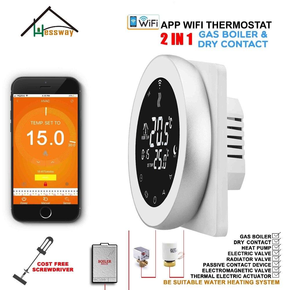 HESSWAY 2 en 1 thermostat intelligent contrôleur de liaison wifi par téléphone APP pour chaudière à gaz et système de chauffage par le sol