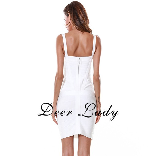 Ship From USA $19.99 Collections Women Bandage Dresses 2019 New Arrivals Party White Bandage Rayon Dress Sexy Strap Dress Mini