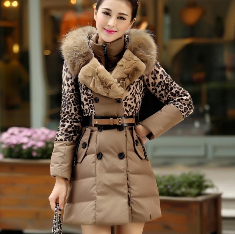Luxurious Rex Rabbit Fur Raccoon Fur Double-Breasted With Belt Silm DownJacket Big Fur Collar Knee-length Leopard Warm