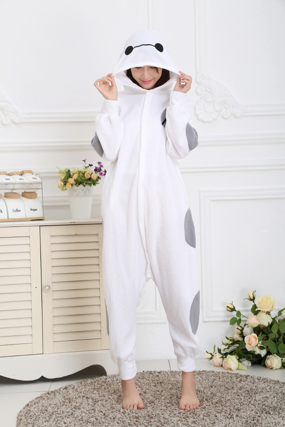 Cartoon hero animals cute cartoon version of the men and women lovers flannel pajamas conjoined in winter Cartoon jumpsuits