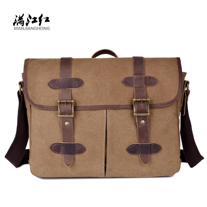 ФОТО Sky fantasy fashion canvas with crazy horse leather vintage men briefcase cross-body messenger bag satchels cowboy style handbag