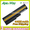 Apexway 11.1 v 4400 mah 6 celdas de batería para portátil lenovo t60 t61 sl300 sl400 sl500 42t4560 42t4561 42t4566 42t5233 42t5234 42t5245