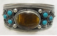 Tibet Silver gem Beads Cuff bracelet AAA>jewerly free shipping