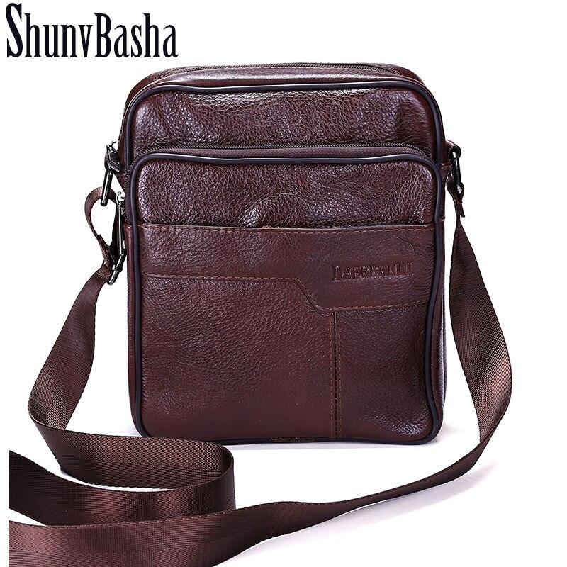 ShunvBasha Business Men Genuine Leather Bag Natural Cowskin Men Messenger Bags Vintage Men s Cowhide Shoulder
