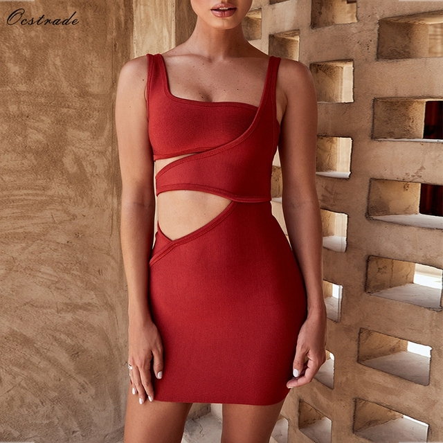 fb8b2f0ac519 Ocstrade Rayon Vestidos Bandage 2018 New Arrivals Spaghetti Strap Sexy Red  Bandage Dress Cut Out Bodycon Bandage Mini Dress