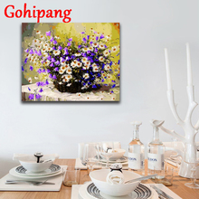 Check Price Acrylic Paint Purple white daisy flower baskets Canvas FramedDiy Oil Painting By Numbers Home Decor Unique gift 16x20in