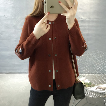 Hitz 2019 Korean long sleeved O collar knit shirt pocket embroidery sweater coat thick