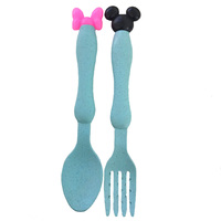 fork and spoon blue