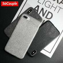 SoCouple Cloth Texture Leather Soft TPU case For iphone 7 Case FI01