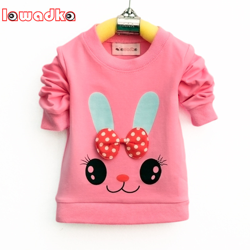 Lawadka Cute Cartoon Rabbit Baby Girls T-shirt Long Sleeve Band Sport T Shirts for Girls Cotton Children Clothes