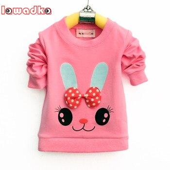 Lawadka 귀여운 만화 토끼 아기 소녀 t-셔츠 긴 소매 밴드 스포츠 t 셔츠 여자 면화 어린이 옷