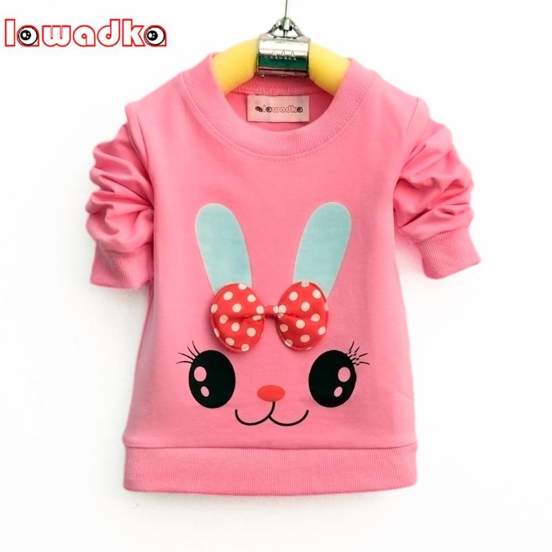 Lawadka Cute Cartoon Rabbit Baby Girls T-shirt Long Sleeve Band Sport T Shirts For Girls Cotton Children Clothes