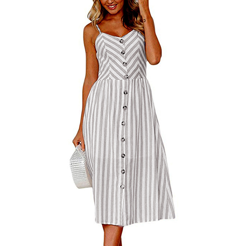 Aselnn Striped Button Casual Summer Strap Dress Long Bohemian Beach Pockets Women Sundress Vestidos Elegant Daily Dess Female