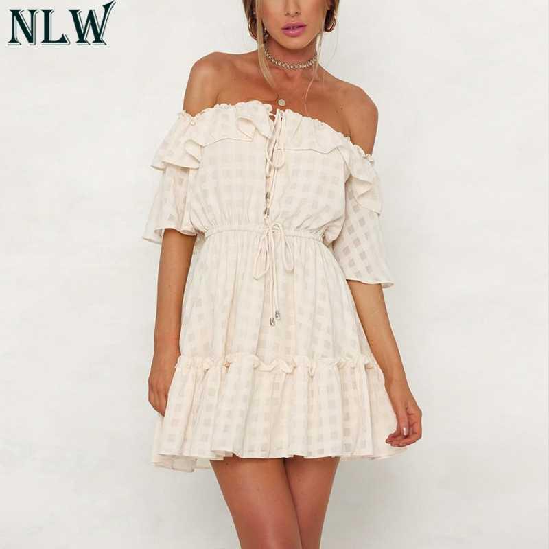 NLW белое с открытыми плечами Плиссированное элегантное платье короткое расклешенное клетчатое женское летнее плявечерние праздничное желтое платье Robe Femme Vestidos De Festa