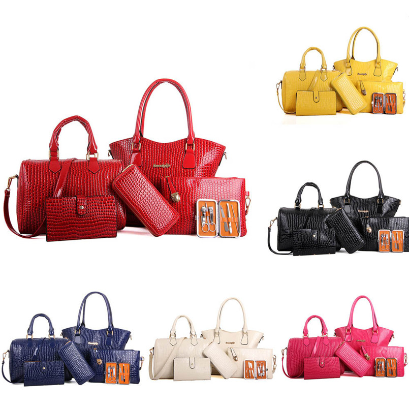 2018 Hot Sale Women Six Set Fashion Handbag Lady High Quality Leather Shoulder Bags Six Pieces Tote Bag Bags bolsos TC faux leather minimalist practical 3 pieces tote bag set page 5