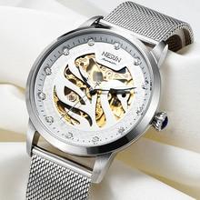 Nesun suíça Nova Marca de Luxo Mulheres Relógio Automático Auto-Vento Relógios das mulheres À Prova D' Água relógio de Aço Inoxidável Completa N9301-1