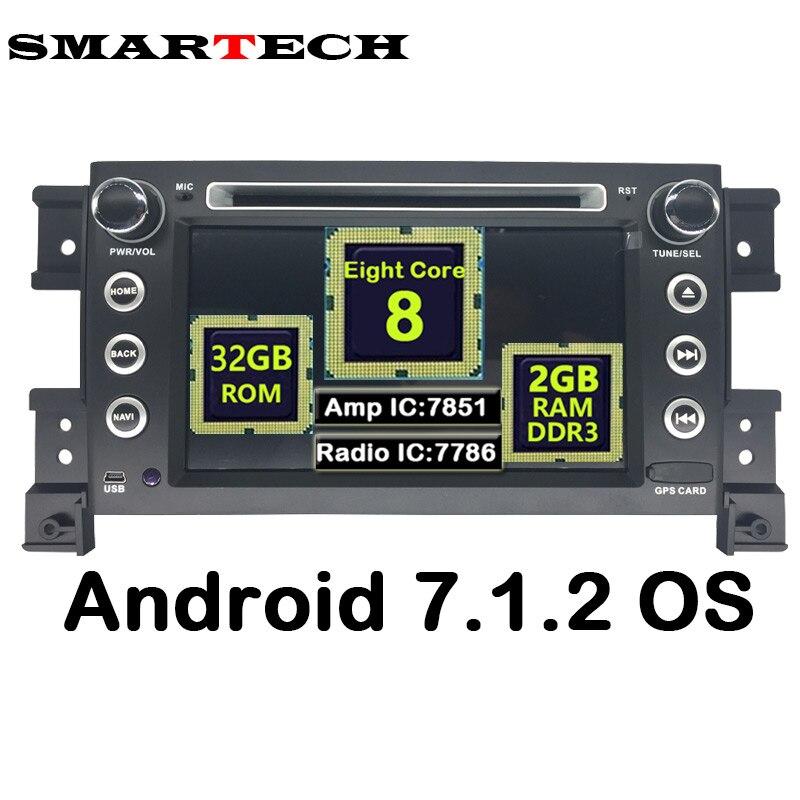 SMARTECH 8 코어 2Din 안드로이드 7.1.2 자동차 스테레오 라디오 DVD GPS 네비게이션 스즈키 한 Vitara 2007-2011 자동차 오디오 비디오 플레이어