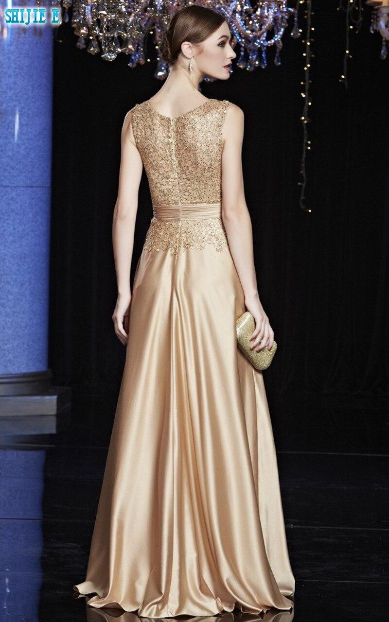 Gold Elegant Long Evening Dress Scoop Sleeveless A Line Floor Length Long  Evening Dress Sequin Satin Evening Dresses-in Evening Dresses from Weddings  ... fbd7dc7b2ac6