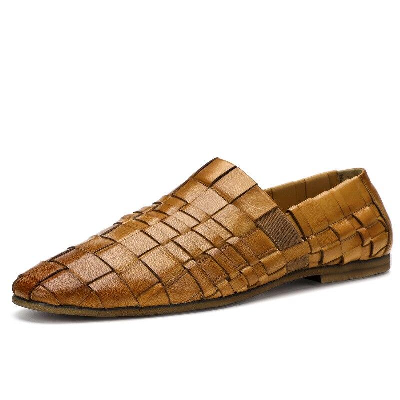 Nouveau hommes tendance chaussures 100% tricoté à la main en cuir véritable chaussures angleterre en cuir hommes respirant affaires chaussures décontractées hommes - 4
