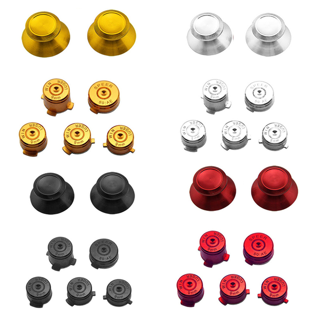 Aluminium Metal Mod Kit Thumbstick Joystick Analog Cap Bullet ABXY Guide Button for Xbox 360 Controller Gamepad Replacement