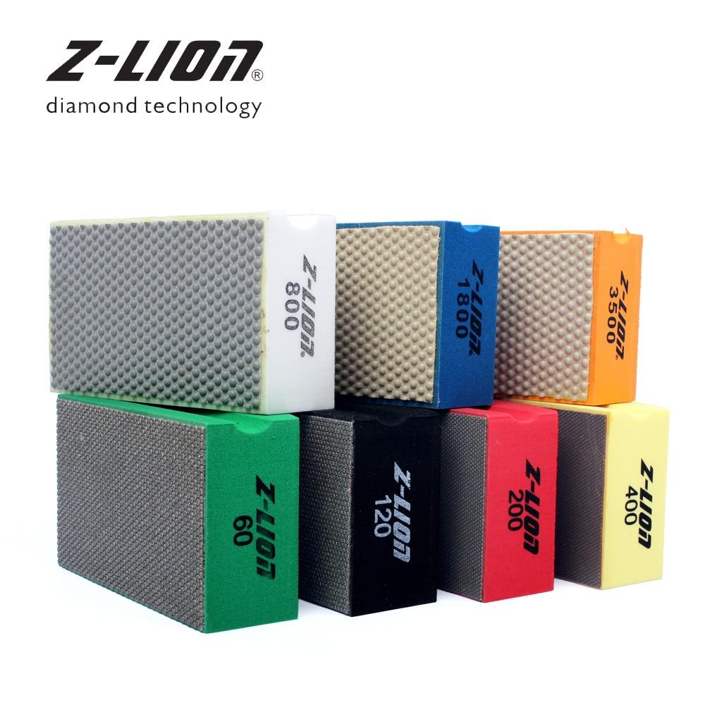 Z LEAP 7 Pcs Diamond Hand Polishing Pads 100 X 58 mm Professional Diamond Granite Marble